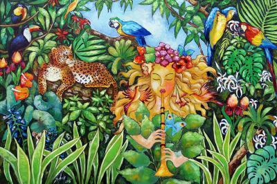 piekna-flecistka-i-tropikalna-dzungla