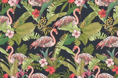 tropikalne-liscie-i-rozowe-flamingi
