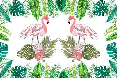 dwa-rozowe-flamingi-i-tropikalne-liscie