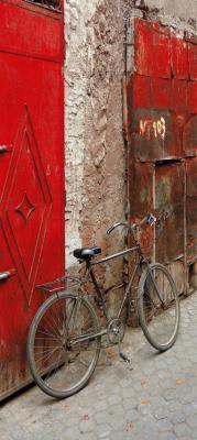 stary-rower-i-czerwone-drzwi