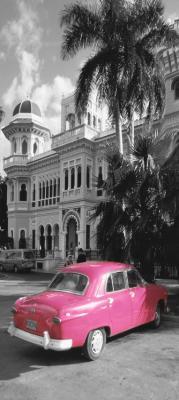 rozowy-samochod-i-palmy