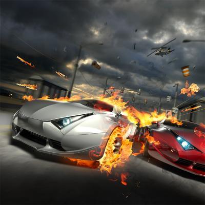 dwa-sportowe-samochody-w-ogniu-i-helikopter