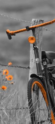 pomaranczowy-rower-na-szarej-lace