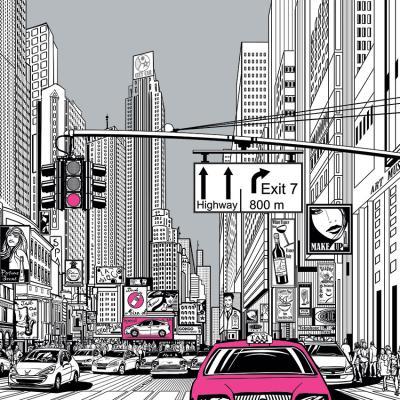 rozowa-taksowka-i-rysunkowa-ulica