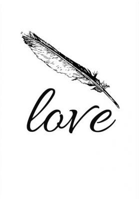 napis-love-z-piorkiem-czarno-bialy